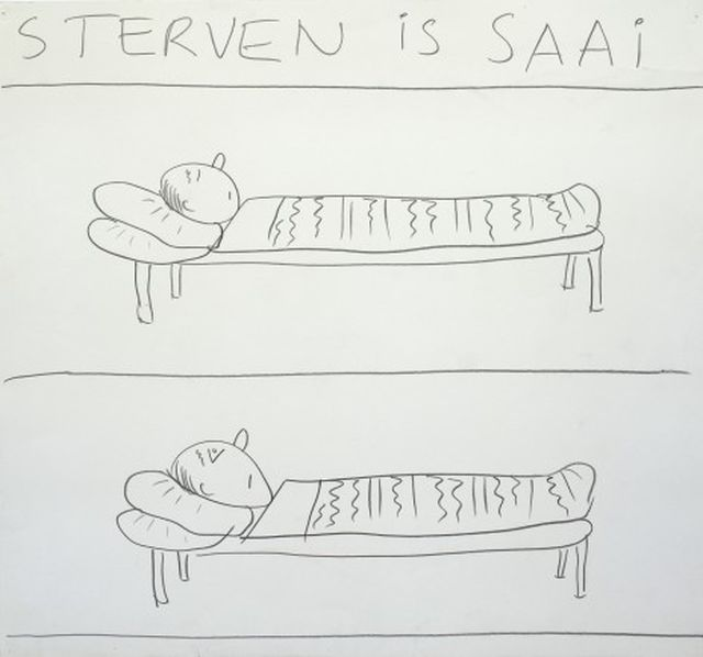 Bert Mebius, Drawing, Sterven is Saai,
