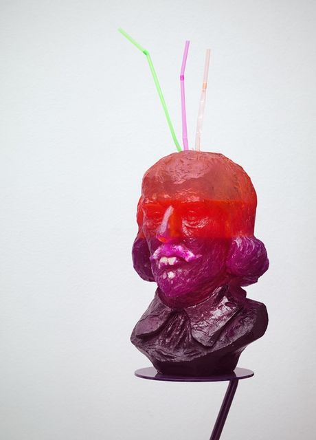 Nathaniel Mellors, Resin, steel, paint, false teeth, Half-Drunk Purple-Orange Shakespeare (with Teeth & 3 Straws), 2014