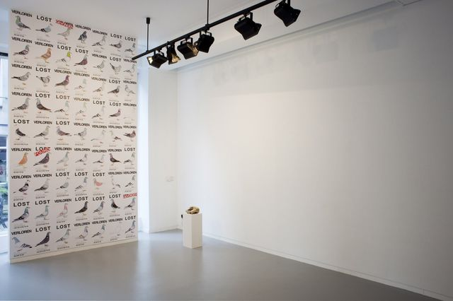 Pilvi Takala, Poster and 5 minutes sound, Lost Pigeons (Installation view), 2012