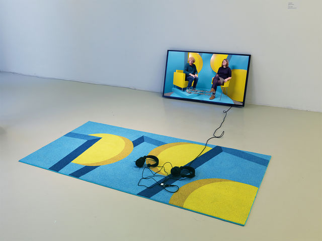 Feiko Beckers,  HD Video, Ink on Carpet , The Inevitable Others, exhibition view at Stedelijk Museum Schiedam, NL,