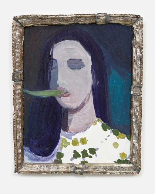 Helen Verhoeven, Oil on panel with ceramic frame, Banana Face, 2019