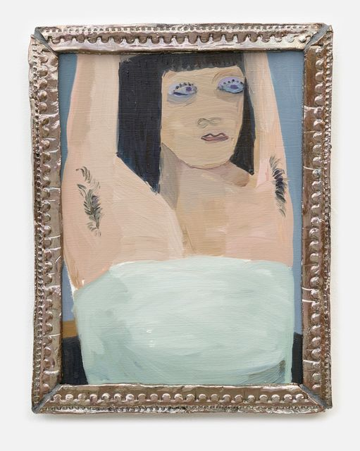 Helen Verhoeven, Oil on panel with ceramic frame, Easy Yes, 2019