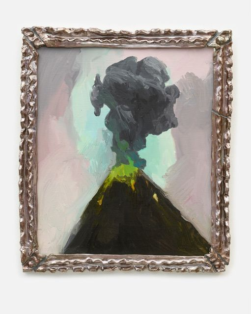 Helen Verhoeven, Oil on panel with ceramic frame, Lava Lava, 2019