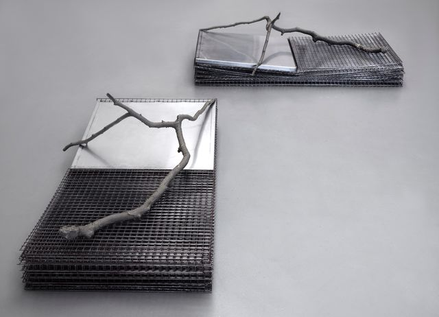 Lucas Lenglet, Blank steel, stainless steel, cast resin, Two cages with annex (stacked version), 2015