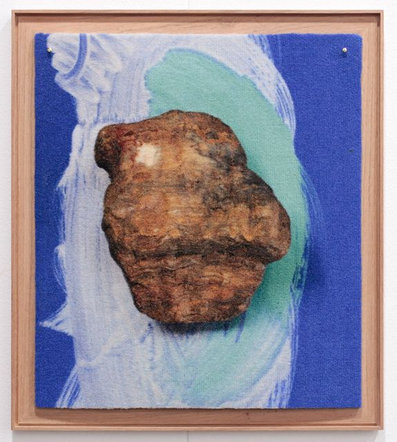 Peggy Franck, Digital print on carpet, framed, Gazes crossing (all blue is precious), 2017