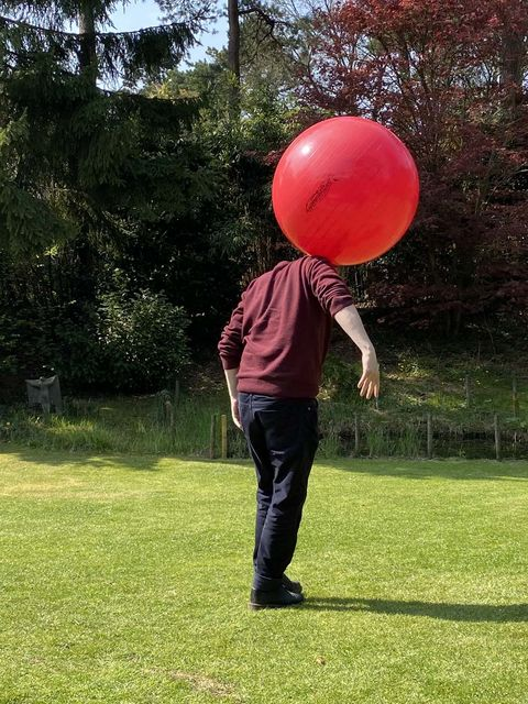 The choices of  Pim Blokker, Here I'm balancing a ball in the garden., - My home/studio -,