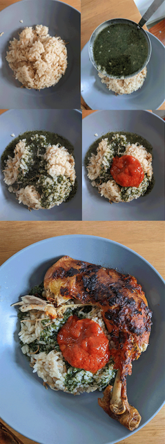 The choices of Dina Danish, Molokheyya with lots of garlic and coriander, served with tomato sauce, rice, coated chicken and Egyptian baladi salad. If you want the whole recipe let me know, it's at least 3 pages long!, - I'm currently eating -  A dish that is extremely time-consuming and great for your immune system: ,