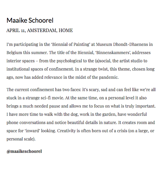 The choices of Maaike Schoorel , This text accompanies Maryams Eisler's picture of me for Lux Magazine. https://www.lux-mag.com/confined-artists-free-spirits-2020/, - My home/studio -,