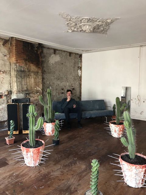 The choices of  Daniel van Straalen, Me with with some cactus sculptures that I made recently., - My home/studio - ,