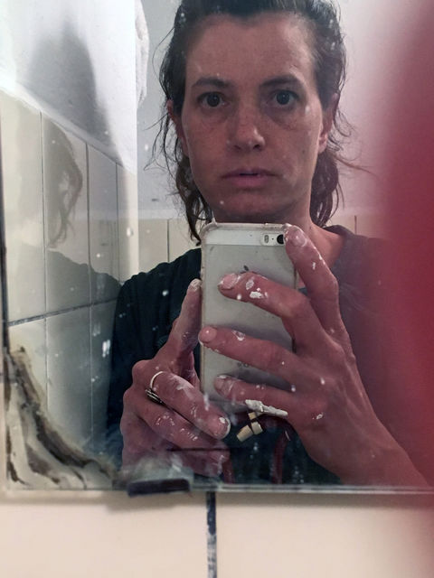 The choices of Helen Verhoeven , Me in the studio bathroom mirror., - My home/studio - (me),
