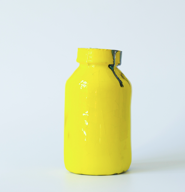 ARTICHOKE - little things that mean a lot, Hot in Hell / Easy to swallow, 2015, Yellow ceramic vitamin jar. Sold with Save the world wallpaper, Unique in a series of 12.  Euro: 250,- + shipping.  , Josefin Arnell ,